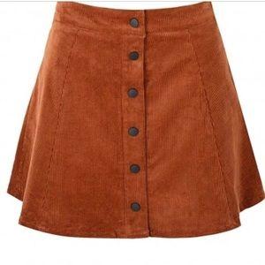 Glamorous Button Down Mini Skirt Rust